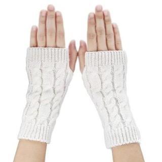 【新品】寒い冬に!フィンガーレスニット手袋(白)(手袋)
