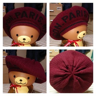 オーバーライド(override)のオーバーライド ウール ベレー帽 ボルドー(ハンチング/ベレー帽)