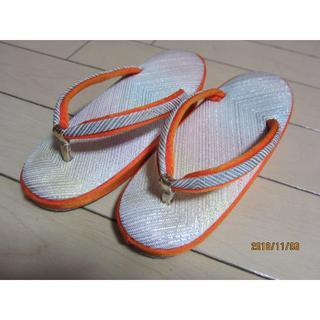 草履 七五三 3歳向け オレンジ 足袋つき(下駄/草履)