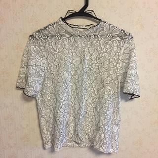 ジーユー(GU)のGU レースフリルネックTシャツ(シャツ/ブラウス(半袖/袖なし))