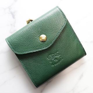 イルビゾンテ(IL BISONTE)の新品 イルビゾンテ ガマ口 財布 二つ折り グリーン 小銭入れ 本革 ブランド(折り財布)