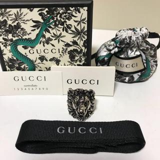 グッチ(Gucci)の☆美品 グッチ ライオン ヘッド シルバー リング 指輪 イタリア製(リング(指輪))