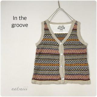 インザグルーヴ(in the groove)のIn the groove . 総柄 ジャガード 織り ニット ベスト(ベスト/ジレ)