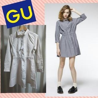 ジーユー(GU)のGU*ストライプシャツワンピース(ミニワンピース)