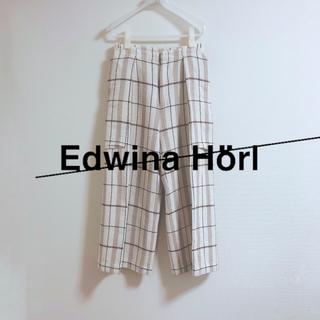 エドウィナホール(Edwina Hoerl)の16ss エドウィナホール チェック ワイドパンツ edwina horl(スラックス)