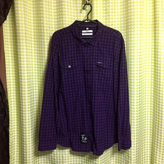 エルアールジー(LRG)のLRG 紫チェック 長袖シャツ XL相当(シャツ)