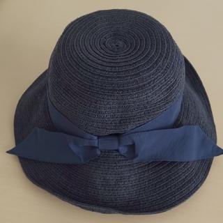 プティマイン(petit main)のpetit mainプチマイン50㎝紺色麦わら帽子(帽子)