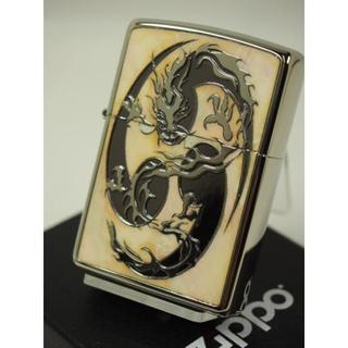 ジッポー(ZIPPO)のZippo Shell シェル(りゅう龍 竜ドラゴン)白蝶貝象嵌 DGS-B(タバコグッズ)
