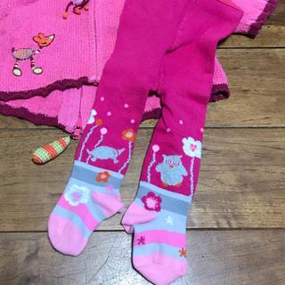 オイリリー(OILILY)のベビーミニ 6~12aインポートタイツ 動物柄 ピンク(靴下/タイツ)