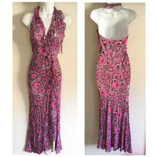 エマニュエルウンガロ(emanuel ungaro)のウンガロフィーバー ピンク ホルター ロング ドレス(ロングドレス)