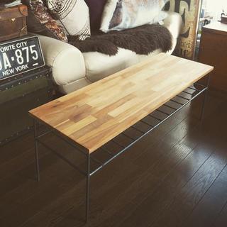 No②⌘アカシアテーブル⌘アイアン家具  カフェテーブル(ローテーブル)