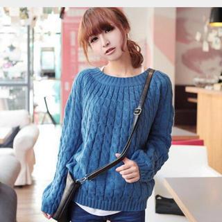 ニット  レディース セーター ケーブル編み トップス 長袖 インナー 9色(ニット/セーター)