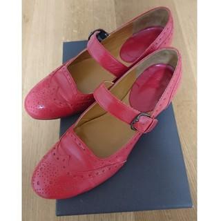 ショセ(chausser)のchausser ショセ メダリオンデザイン ワンストラップシューズ 23㎝ 赤(ローファー/革靴)
