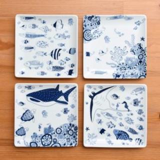 ハサミ(HASAMI)のかめ子様専用ココマリン正角皿4枚小皿8枚茶碗3個(食器)