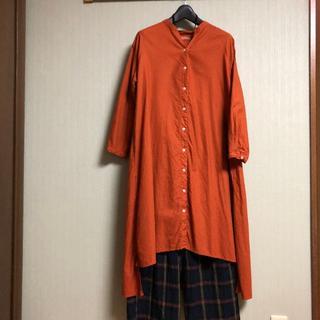 サンバレー(SUNVALLEY)のSUNVALLEY シャツワンピ オレンジ(ロングワンピース/マキシワンピース)