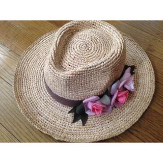 カロリナグレイサー(CAROLINA GLASER)のカロリナグレイサー 今季 お花 麦わら帽子(麦わら帽子/ストローハット)