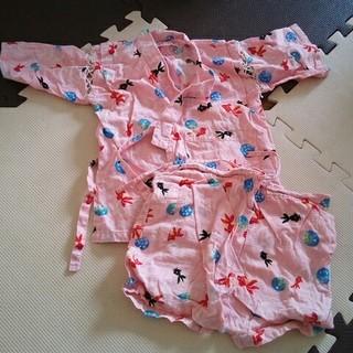 甚平上下セット女の子ピンク金魚90cm-100cm(甚平/浴衣)