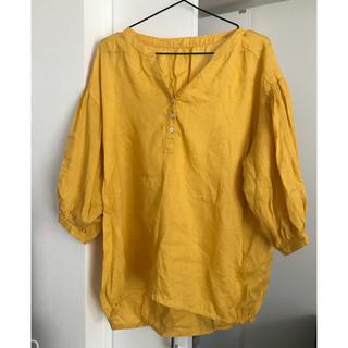 シマムラ(しまむら)の 黄色 イエロー ブラウス シンプル 麻100% 七分袖(シャツ/ブラウス(長袖/七分))