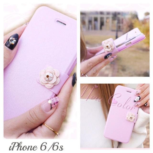iPhone6/6s 訳あり特価 薄型軽量 手帳型 カメリア ケース ピンクの通販