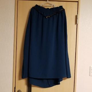 シマムラ(しまむら)の新品 ベルト付 フレアロングスカート 大きいサイズ 4L(ロングスカート)