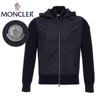 モンクレール(MONCLER)の3 MONCLER ニット×ナイロン 切り替え ネイビーブルゾン M(ブルゾン)