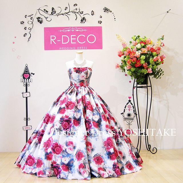 ウエディングドレス(パニエ無料) オフホワイト花柄ドレス 披露宴/二次会 レディースのフォーマル/ドレス(ウェディングドレス)の商品写真