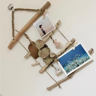 流木ラダー☆*:.。.フォトクリップつきタペストリー 西海岸インテリア(家具)
