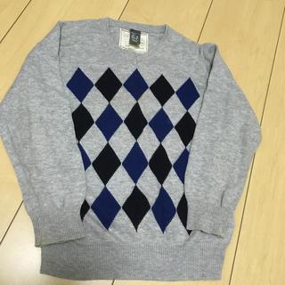 ザラ(ZARA)の男の子100から110 グレー×チェックのアーガイル長袖セーター 本物ZARA(ニット)