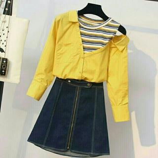 秋の新作 大きいサイズ 着やせ 2点セット スカート(ひざ丈ワンピース)