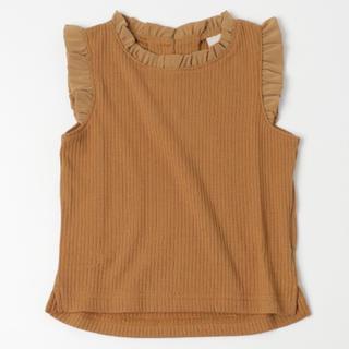 プティマイン(petit main)のプティマイン  フリルタンクトップ ブラウン(Tシャツ/カットソー)
