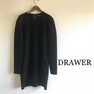 ドゥロワー(Drawer)の美品⭐️定価51840円 DRAWER ドゥロワー ニットワンピース ブラック(ひざ丈ワンピース)