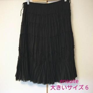 エンスウィート(ensuite)の【美品】レナウンensuite大きいサイズ6 ミモレ丈変形プリーツスカート(ひざ丈スカート)