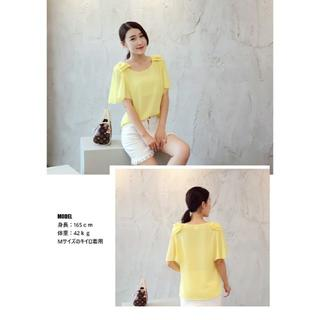 【新品】肩リボン付きシフォンブラウス(シャツ/ブラウス(半袖/袖なし))