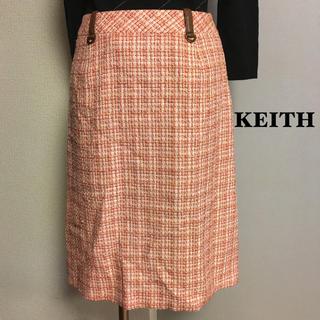 キース(KEITH)の【KEITH】キース ピンク ツィード 膝丈スカート (ひざ丈スカート)