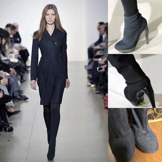 ジルサンダー(Jil Sander)のラフシモンズ ジルサンダー 厚底靴下ブーツヒール グレー 24.5 レザーウール(ブーツ)