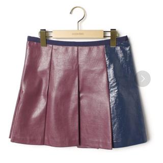 サカイラック(sacai luck)の新品sacai luckサカイラック 台形プリーツレザースカートボックススカート(ミニスカート)