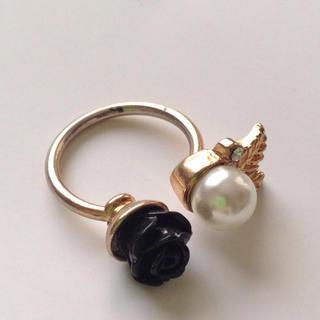 黒バラとパールのリング(リング(指輪))