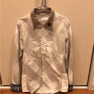 エム(M)のクロスドアロー チェックシャツ 白 Mサイズ(シャツ)
