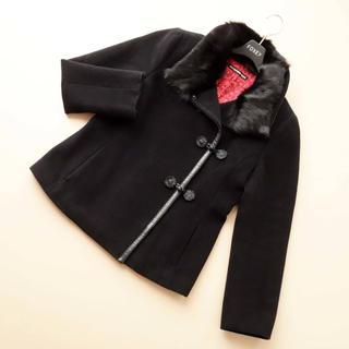 ヴィヴィアンタム(VIVIENNE TAM)のヴィヴィアンタム■ 1 コート ファー襟 黒 アンゴラ VIVIENNE TAM(ピーコート)