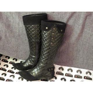 ロングブーツ 黒 MADE IN ITALY ヒール低め 21.5cm(ブーツ)