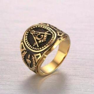 フリーメイソン 指輪 リング 秘密結社 都市伝説 で 話題 金×黒 26号(リング(指輪))