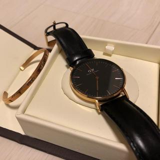 ダニエルウェリントン(Daniel Wellington)のダニエルウェリントン DW ブラック ゴールド(バングル付)(腕時計(アナログ))