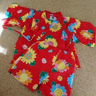 ミキハウス(mikihouse)のミキハウス 甚平 花柄 赤   100サイズ(甚平/浴衣)