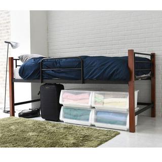 開店記念セール◆木製脚とパイプが融合したおしゃれなベッド(送料無料)(ロフトベッド/システムベッド)