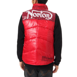 ノートン(Norton)のNorton ノートン ロゴ刺繍ポリタフタ 中綿 バイカラー ベスト 赤 XXL(ベスト)