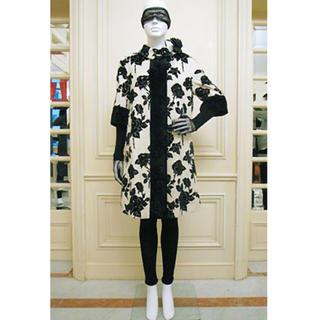 美品 ケイタマルヤマ ジャガード フラワー コート 花柄 刺繍