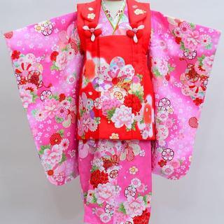 七五三 3歳 女児 新品 花ひめ 被布着物セット 半衿足袋付き NO18469(和服/着物)