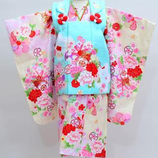 七五三 3歳 女児 新品 花ひめ 被布着物セット 半衿足袋付き NO18468(和服/着物)