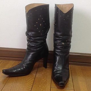 ミッシェルクラン(MICHEL KLEIN)のミッシェルクラン ブーツ ウエスタン 25.5 ブラック レザー 大きいサイズ(ブーツ)