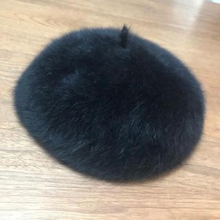 アンゴラ混 ファー ベレー帽 ブラック(ハンチング/ベレー帽)